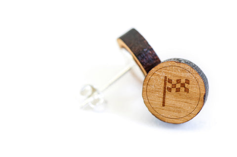 Checkered Flag Wood Earrings
