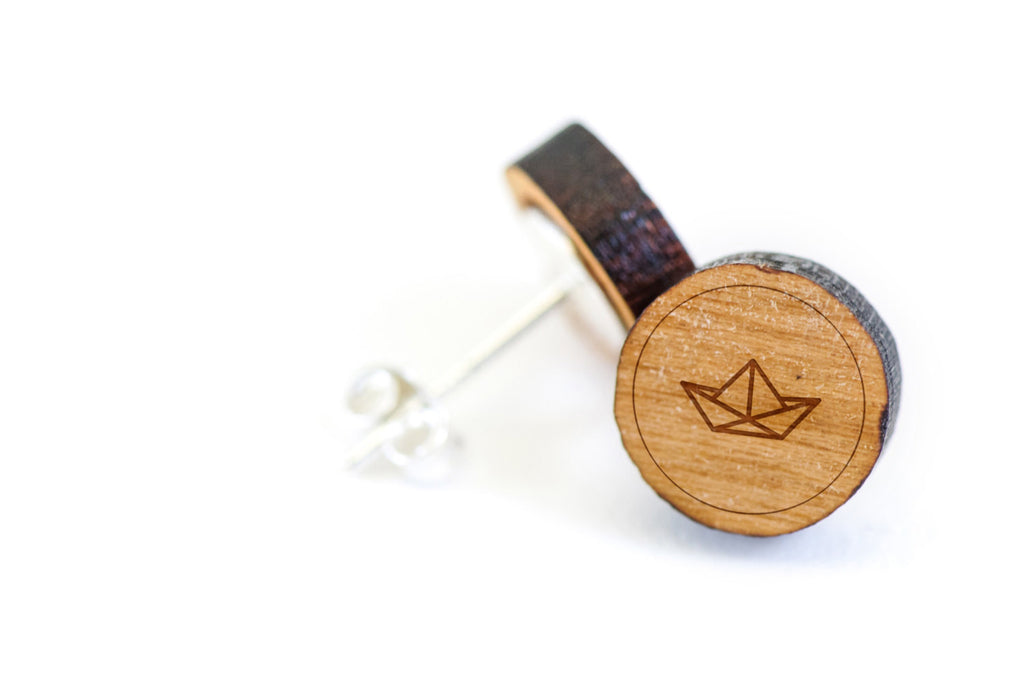 Origami Boat Wood Earrings