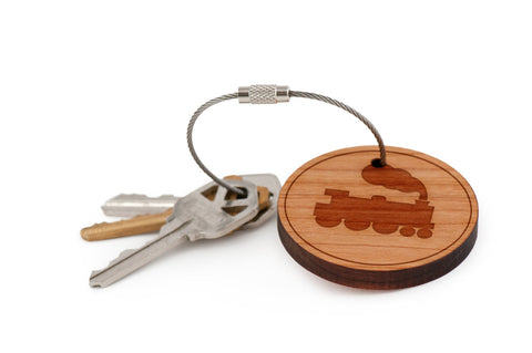 Caboose Wood Keychain