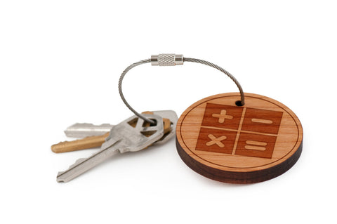 Calculator Functions Wood Keychain