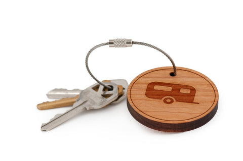 Camper Trailer Wood Keychain