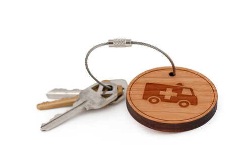 Ambulance Wood Keychain