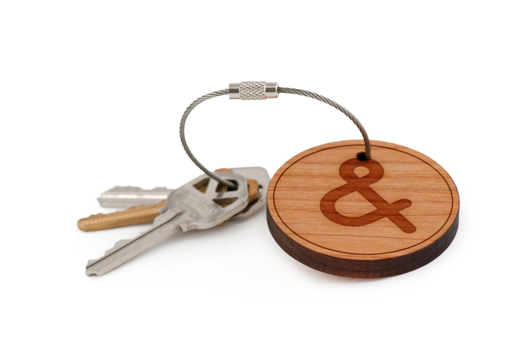 Ampersand Wood Keychain