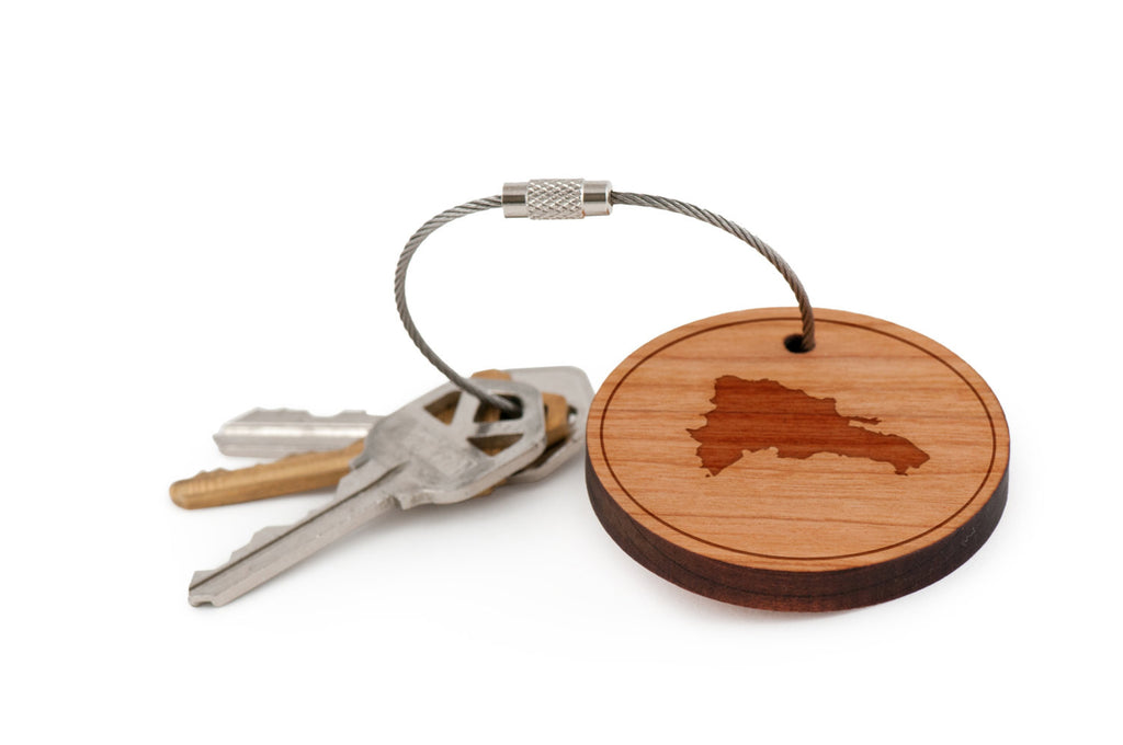Dominican Republic Wood Keychain