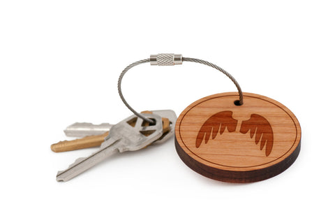 Angel Wings Wood Keychain
