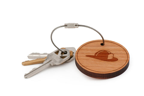 Fire Helmet Wood Keychain