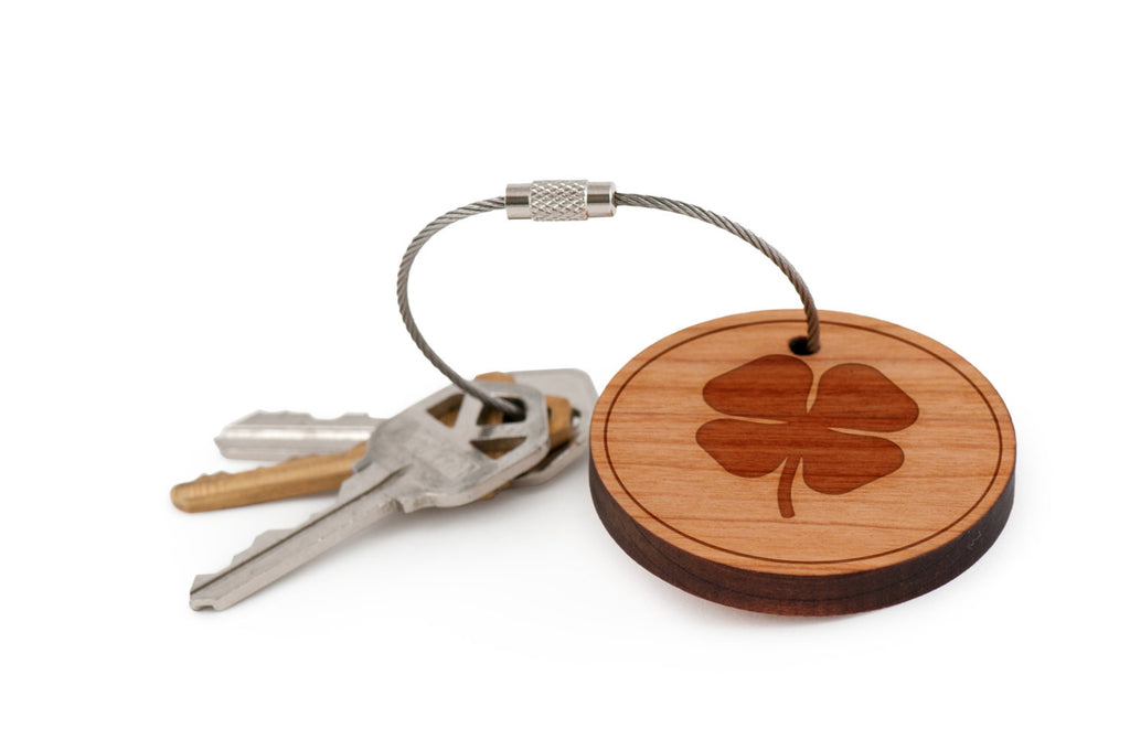 Four Leaf Clover Wood Keychain