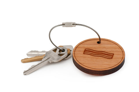 Bacon Wood Keychain