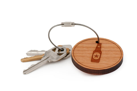 Beer Bottle Wood Keychain