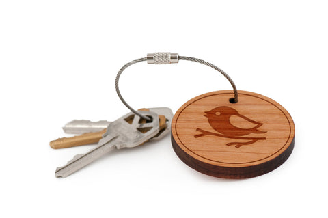 Bird On Branch Wood Keychain