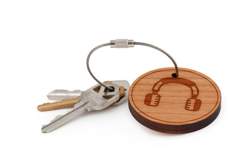 Headphones Wood Keychain