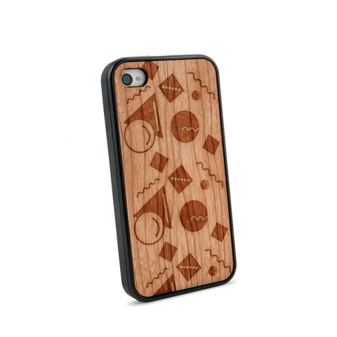 Abstract Pastel Natural Wooden iPhone 4/4S Case in American Cherry Wood