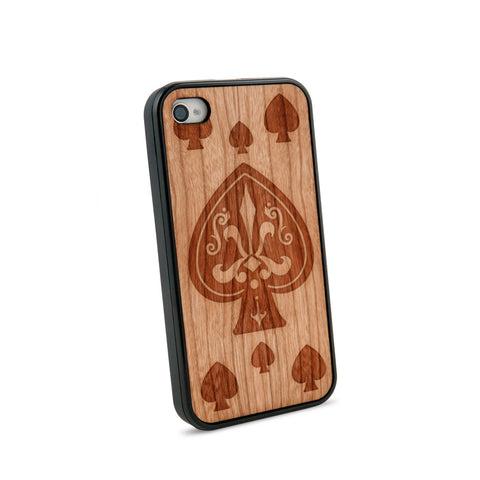 Ace Of Spade Natural Wooden iPhone 4/4S Case in American Cherry Wood