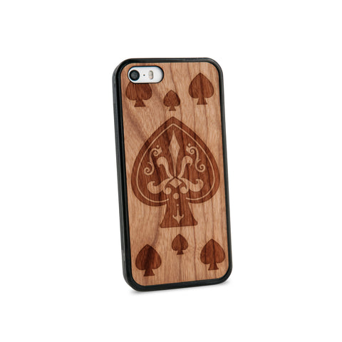Ace Of Spade Natural Wooden iPhone 5/5S Case in American Cherry Wood