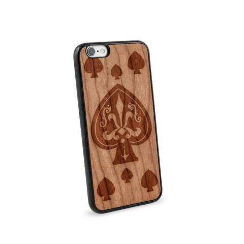 Ace Of Spade Natural Wooden iPhone 6 Case in American Cherry Wood