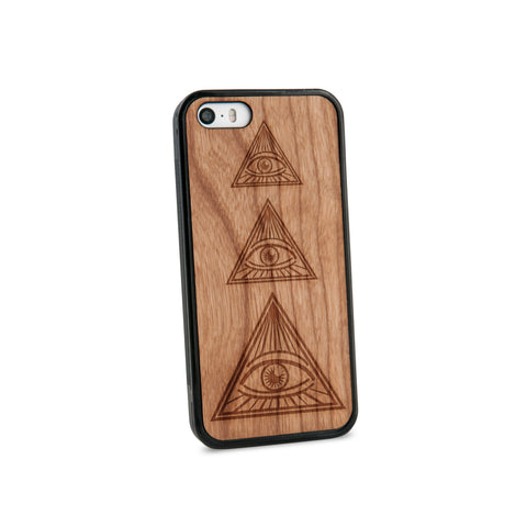 All Seeing Eye Natural Wooden iPhone 5/5S Case in American Cherry Wood
