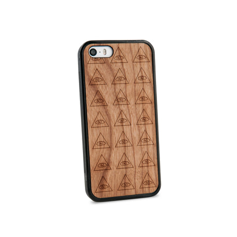 All Seeing Eyes Natural Wooden iPhone 5/5S Case in American Cherry Wood