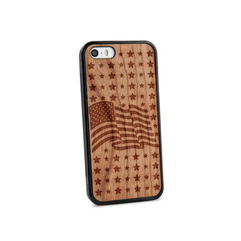 American Flag Natural Wooden iPhone 5/5S Case in American Cherry Wood
