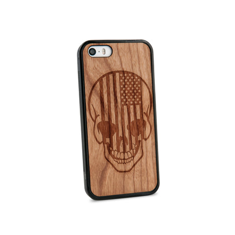 American Flag Skull Natural Wooden iPhone 5/5S Case in American Cherry Wood