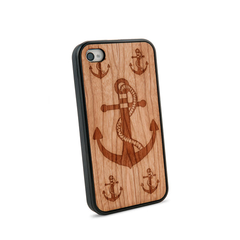 Anchor Rope Natural Wooden iPhone 4/4S Case in American Cherry Wood