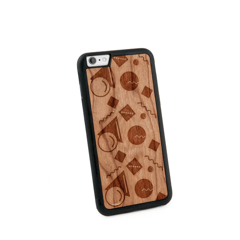 Abstract Pastel Natural Wooden Iphone 6+ Case in American Cherry Wood