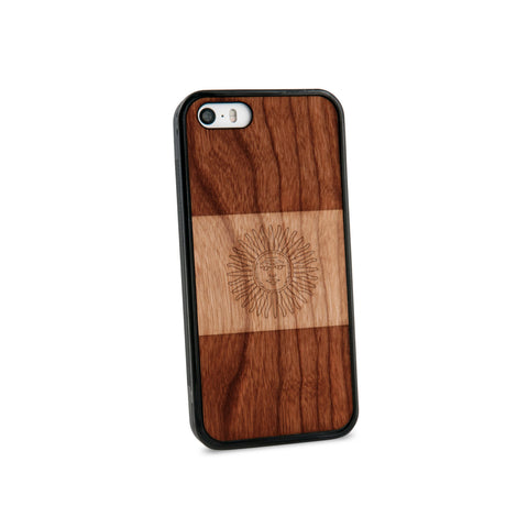 Argentina Flag Natural Wooden iPhone 5/5S Case in American Cherry Wood