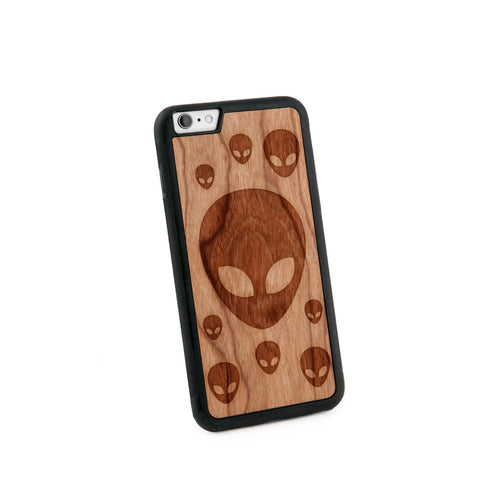 Alien Head Natural Wooden Iphone 6+ Case in American Cherry Wood