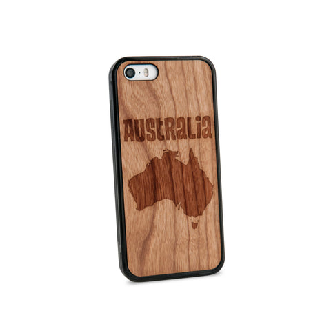 Australia Text Natural Wooden iPhone 5/5S Case in American Cherry Wood