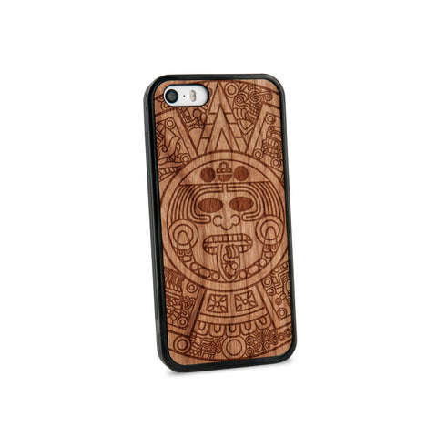 Aztec Calendar Natural Wooden iPhone 5/5S Case in American Cherry Wood