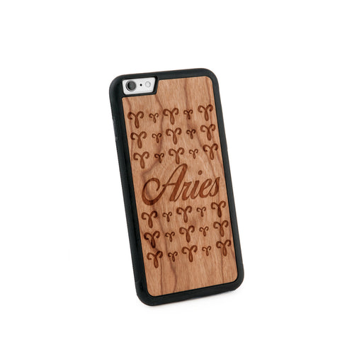 Aries Text Natural Wooden Iphone 6+ Case in American Cherry Wood