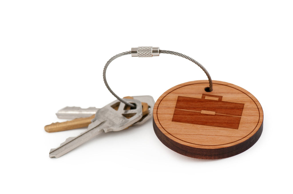 Briefcase Wood Keychain