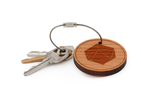 d20 Wood Keychain