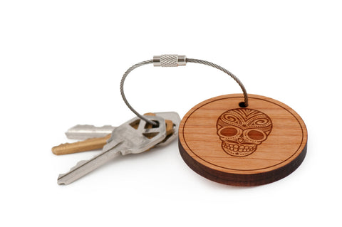 Day Of The Dead Skull Wood Keychain