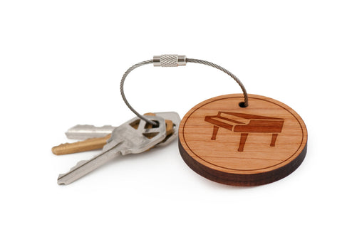 Piano Wood Keychain