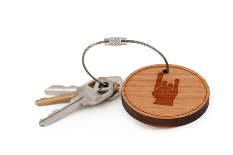 Rock And Roll Wood Keychain