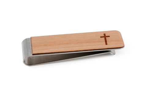 Christian Cross Wood Money Clip