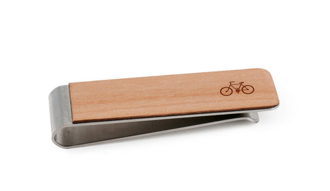 Bicycle Wood Money Clip