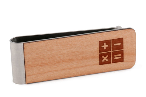 Calculator Functions Wood Money Clip