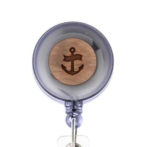 Anchor Navy Badge Holder with Retractable Reel and Clip
