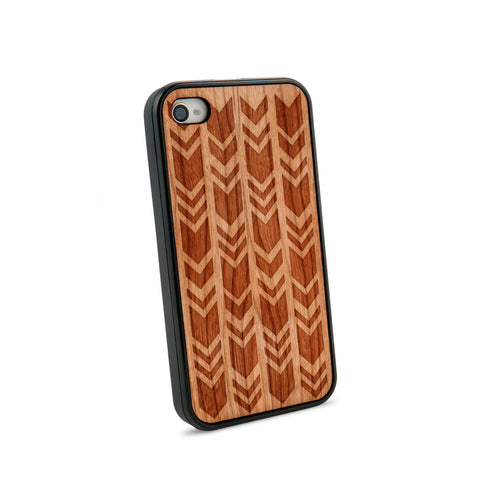 Arrow Chevrons Natural Wooden iPhone 4/4S Case in American Cherry Wood
