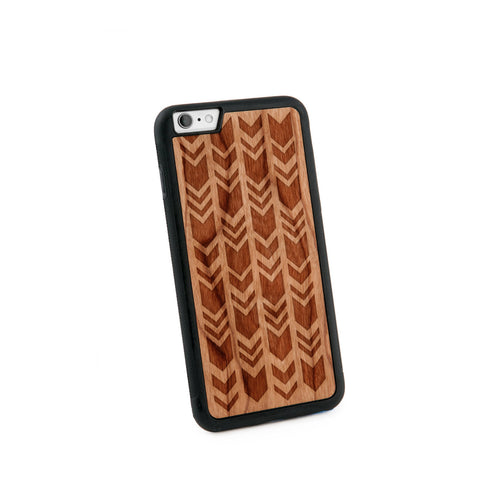 Arrow Chevrons Natural Wooden iPhone 6/6S PLUS Case in American Cherry Wood