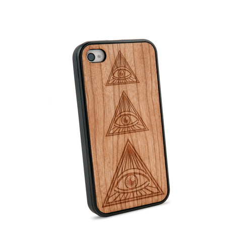 All Seeing Eye Natural Wooden iPhone 4/4S Case in American Cherry Wood