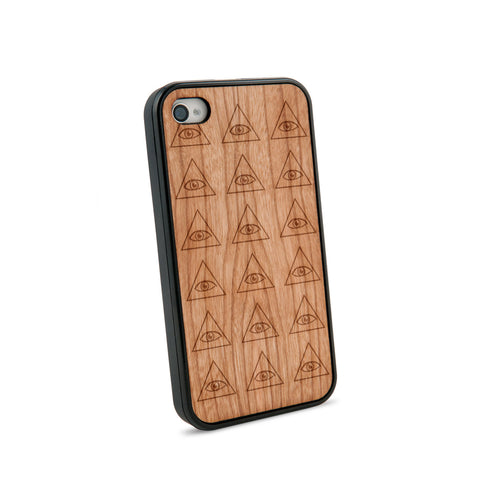 All Seeing Eyes Natural Wooden iPhone 4/4S Case in American Cherry Wood