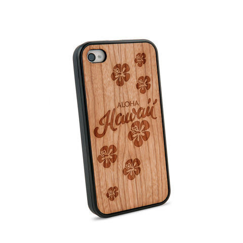 Aloha Hawaii Natural Wooden iPhone 4/4S Case in American Cherry Wood