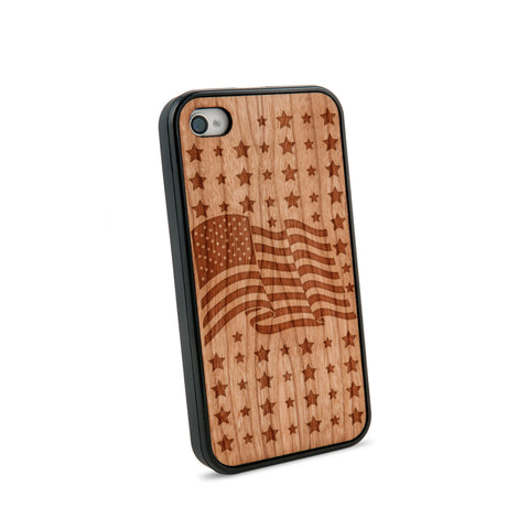 American Flag Natural Wooden iPhone 4/4S Case in American Cherry Wood