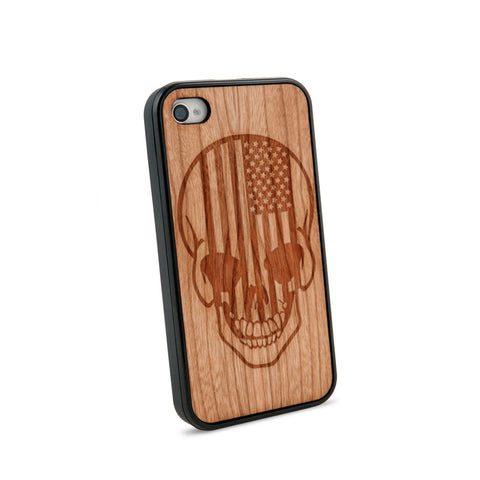 American Flag Skull Natural Wooden iPhone 4/4S Case in American Cherry Wood