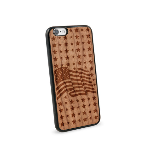 American Flag Natural Wooden iPhone 6 Case in American Cherry Wood