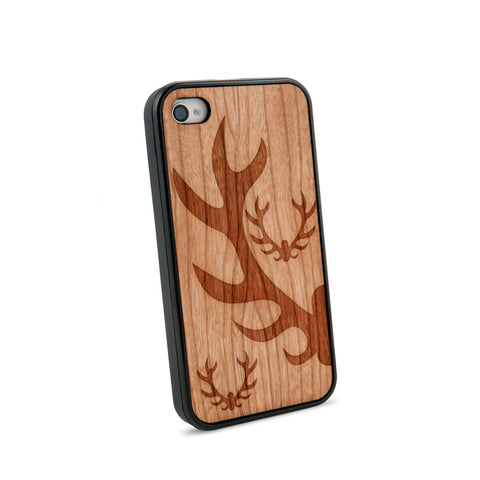 Antlers Natural Wooden iPhone 4/4S Case in American Cherry Wood