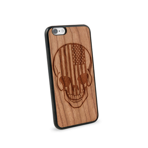 American Flag Skull Natural Wooden iPhone 6 Case in American Cherry Wood