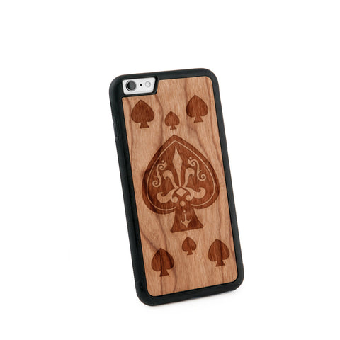 Ace Of Spade Natural Wooden Iphone 6+ Case in American Cherry Wood